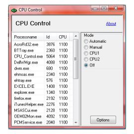 Настройка ядер процессора CPU-Control