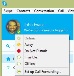 Как сделать невидимый статус в Skype?